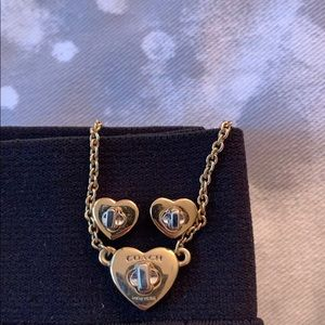Coach heart necklace and earrings